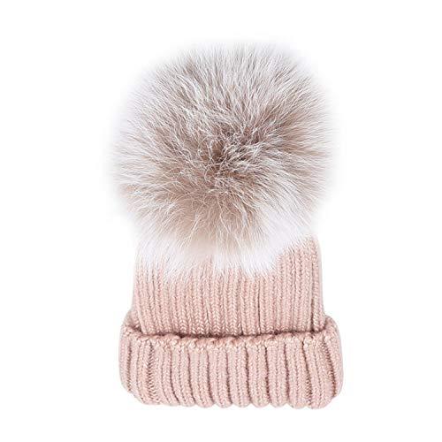 Keamallltd bling berretti donna cappello in vera pelliccia di volpe pompon cappello lavorato a maglia ragazze adulti berretto invernale berretto caldo per le donne rosa
