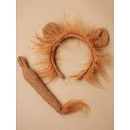 GCC Fashion Store Ladies Girls Brown Lion Ears Alice Band Headband Fancy Dress Party Set With Tail
