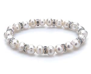 Silvity Pearls Armband aus Süßwasser-Zuchtperlen und Strass Armband 90 mm 804103-20