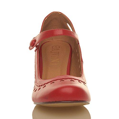 Herzmuster Mary Jane mittlerer Absatz Feinmachen Pumps Schuhe - 4