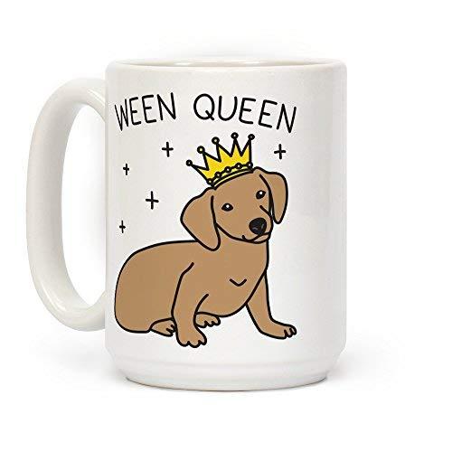 LookHUMAN Ween Queen Kaffeetasse aus Keramik, 425 ml, Weiß