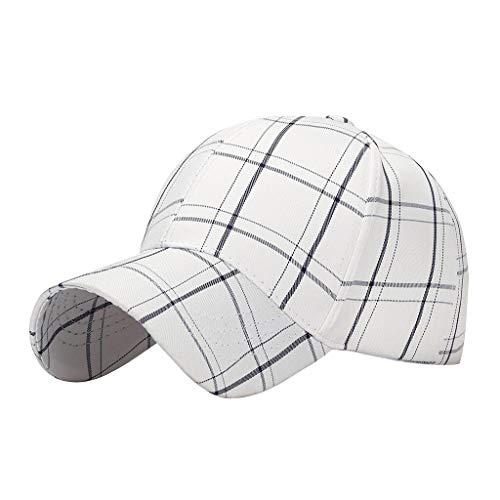 Unbekannt Kappe Frauen-Mann-Baumwollbaseballmütze Adjustable Plaid Printed Mühelos Sport Hüte Vatihut Baseball-Kappen Strand Hutsommer Frauen Baseball Kappe (Color : White)