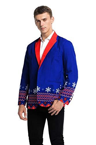 U LOOK UGLY TODAY Modisch Herren Party Anzug Jacke Sakko Blazer Weihnachten Kostüme Jackett Festliche mit Lustigen Mustern Mehrfarbig