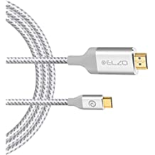 Cable USB C a HDMI (5,9ft/1,8m), Elzo Cable USB 3.1 Tipo C (Thunderbolt 3 Compatible) a HDMI 4K Cable Trenzado de Nylon para Macbook Pro 2017/iMac Pro/iMac 2017, Samsung S8/S8 Plus y Huawei Mate 10