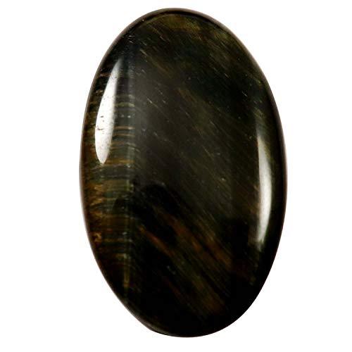 Gems & JewelsHub Blauer Tigerauge natürlicher Cabochon Ovaler Edelstein 30,75 ct HW58 -