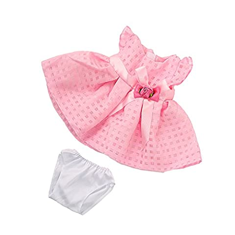 MagiDeal Pink Skirt Dress with Rose Flower Bowknot Outfit for 18'' American Girl Doll
