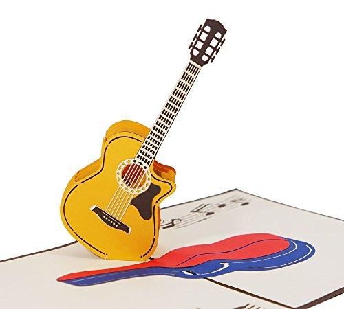 Gitarre - Klappkarte / 3D Pop-Up Karte - Geburtstagskarte, Grußkarte, Glückwunschkarte, Einladungskarte, Gutschein-Karte für Musiker