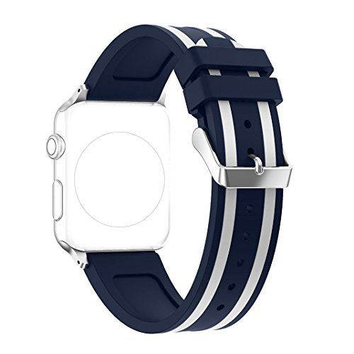 Replacement Apple Watch Band - Silicone Sport Straps Replacement Band with Classic Stainless Steel Buckle for Apple Watch 38mm Series 2 and series 1 (1 - Blue & White) (Stainless Steel Watch Band, White)