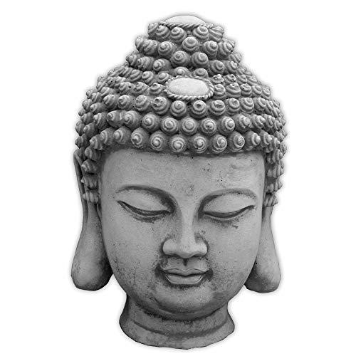 gartendekoparadies.de Massive Buddha Büste Kopf Mönch Dekorationselement aus Steinguss frostfest