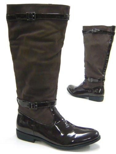 Damen Schuhe Stiefel Reiter Style Lack Boots Braun