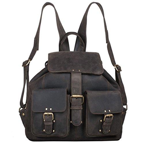 STILORD 'Larissa' Vintage Rucksack Leder Damen Rucksackhandtasche Lederrucksack Handtasche DIN A4 City Shopping Daypack Schule Uni, Farbe:dunkel - braun