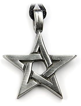 Pentagramm Schmuck Amulett Drudenfuß Schmuckzinn, Länge mit Hänger: 3.6cm lang, inkl. Textilband Biker Kette Anhänger