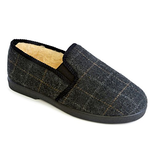 Slumberzzz Men's Checked Plush Lined Slippers, Black, Size UK 8