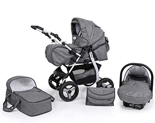 Clamaro 'Primal VIP' 3in1 Premium Kombikinderwagen System, Kinderwagen Kombi mit Babywanne, Buggy und Auto Babyschale Gruppe 0+ (0-13 kg), Felge: Grau (Hartgummi Reifen), Design: 65. Leinen Grau