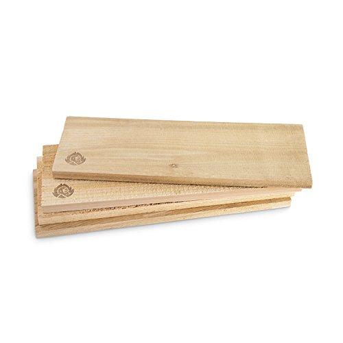 Räucherbretter aus kanadischem Zedernholz, Grillbretter, Grill-Planken, Zedernholzbrett (Set glatte und raue Oberfläche) unbehandelt, Grillzubehör für BBQ - 4er Set