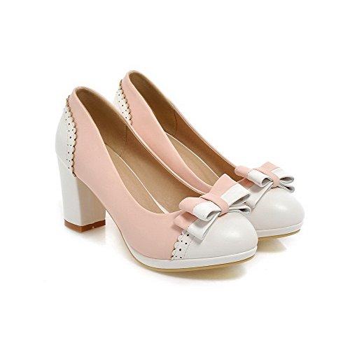 AllhqFashion Damen Pu Leder Rund Zehe Gemischte Farbe Ziehen Auf Pumps Schuhe Pink