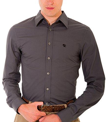 Bivolino Chemise Business Pour Homme Ajustée-Super Slim Manches Courtes - Noir, Blanc, Bleu, Marine, Gris - disponible en tailles XS-6XL Gris