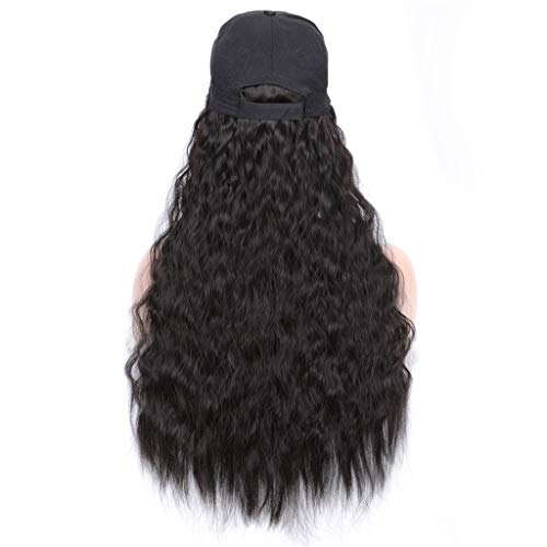hahuha Schönheit, Baseball Cap Hat Wig Wavy Curly Long Synthetic Hair Hat Hairpiece Wigs For Women -