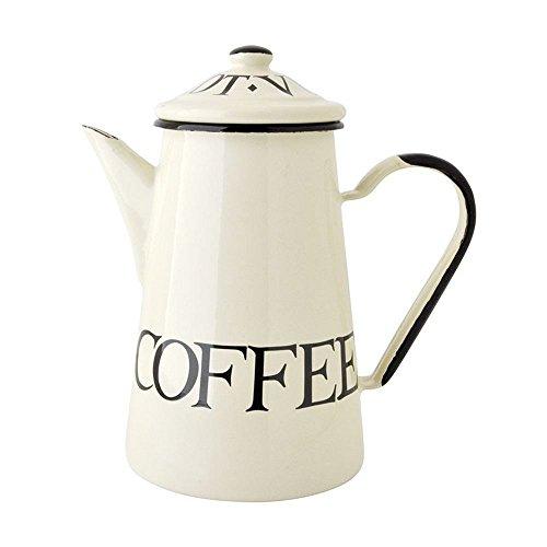 Emma Bridgewater Black Toast-1L Kaffeekanne schwarz & weiß Emaille 'Arabica Coffee'