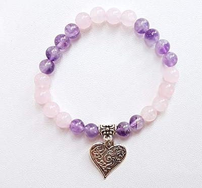 Bracelet fillette en perles naturelles,améthyste et quartz rose
