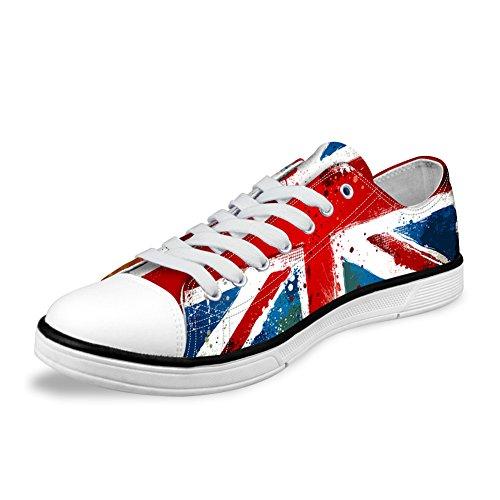 AXGM Herren Sneakers Low Schick Turnschuhe Sportschuhe Canvas Lace Up Wanderschuhe Segeltuchschuhe die Union Jack Rote Blaue Flagge Print Freizeit Schuhe Größe CA54 EU 41