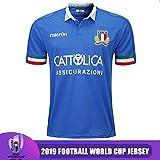 CHERSH Respirant Rugby Polo Manches Courtes Coupe du Monde 2019 (RWC) Italie Accueil Maillots de Football Athletic-Fit Quick-Dry Run T-Shirt Bleu-XXL (Color : White, Size : Medium)