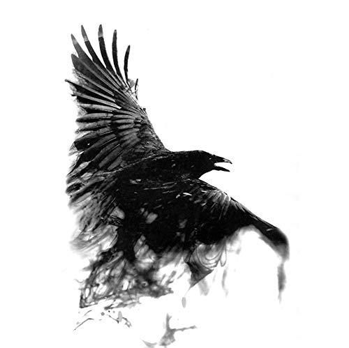 yyyDL Black Raven Temporäre wasserdichte Tattoos Männer HarajukuTattoo Beauty Tierkörper Tattoo Crow Tatoo Ärmel 4St