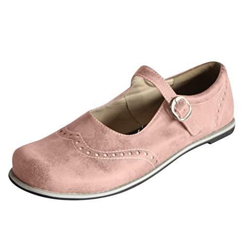 Jane Schuhe, Mode runde Spitze Brogue Lederschuhe, Schnalle Strand Casual Slip-on Schuhe breite Füße römischen Sandalen ()