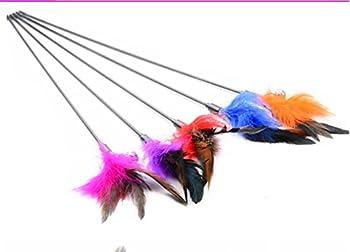 Daorier pour chat chaton jouet Artificiel plumes Baguette Interactive Funny jouet Canne à pêche avec Bell 4 pcs (couleur aléatoire) (Artificiel Plumes)