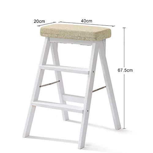 DS Tritthocker Weiß Massivholz Trittleiter Leiter für Erwachsene Holz Küche Trittleiter Tragbare Falten Fußbank Multifunktions kleine Hocker Bank **