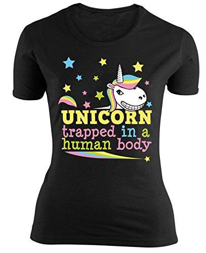 Einhorn-Girlie-Shirt-Trapped-in-a-human-body-aus-Baumwolle-in-Schwarz-Gr-M-L-XL-mit-Rundhalsausschnitt