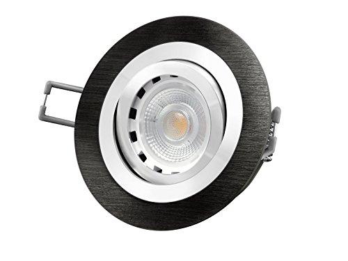 LED-Einbau-Leuchte RF-2 schwenkbar, [Einbau-Strahler] Aluminum schwarz eloxiert, 50W Halogenersatz, 6W [dimmbar], warm-weiß, GU10 230V [IHRE VORTEILE: einfacher EINBAU, hervorragende LEUCHTKRAFT, LICHTQUALITÄT und VERARBEITUNG] (Licht Schwarz Warm Weiss Eloxiertes)