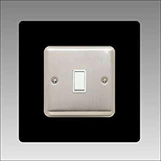 Single Light Switch Surround | Square | Acrylic Back Panel or Finger Plate | Plug, Font Colour:Black