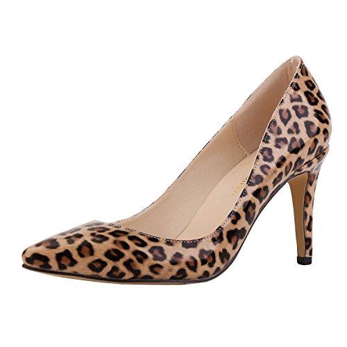 MEI&S Frauen Spitzen Zehe flachen Mund Prom Stiletto High Heels Hochzeit Pumps Pumpen, Leopard Muster, 35