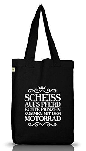 Shirtstreet24, Scheiss aufs Pferd, Motorrad Jutebeutel Stoff Tasche Earth Positive (ONE SIZE) Black