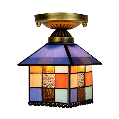 Tiffany Plafonnier simple style contemporain Style contemporain Couleur bol et verre Abat-jour créatif Éclairage intérieur balcon Boule Ø 20 cm E27 H