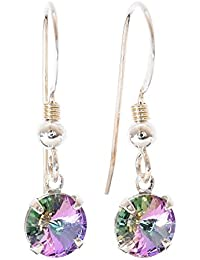 pewterhooter 925 Sterling Silver fishhook earrings expertly made with sparkling Starlight crystal from SWAROVSKI®. London box.
