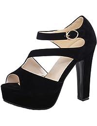 0b3d1695f RAZAMAZA Mujer Correa Tobillo Zapatos Plataforma Peep Toe Tacones Ancho  Sandalias