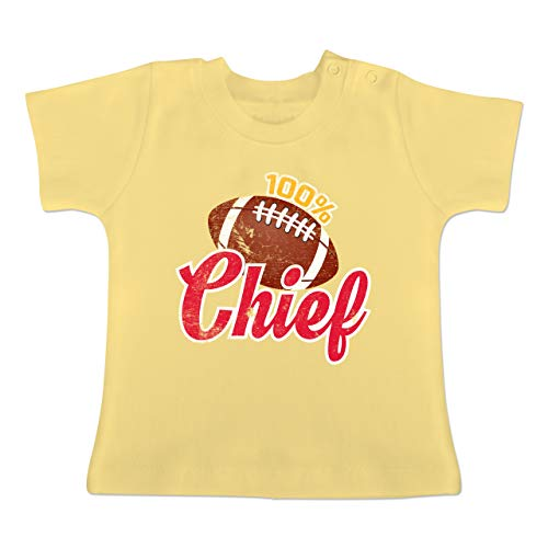 Sport Baby - 100% Chief - 1-3 Monate - Hellgelb - BZ02 - Baby T-Shirt Kurzarm -