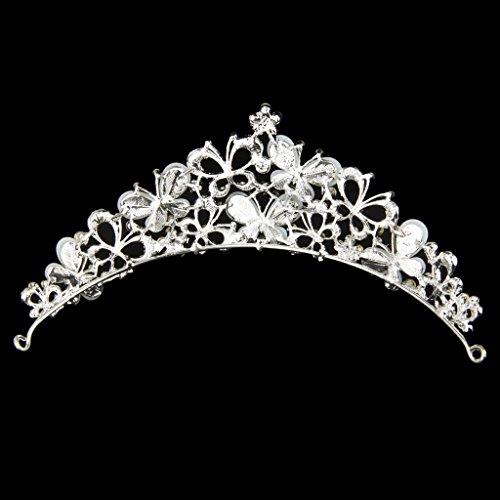 Boda De La Perla De La Corona Nupcial De La Mariposa Cristalina Del Rhinestone Tiara