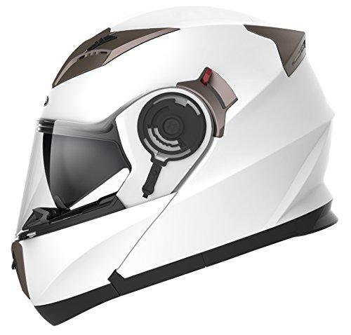Motorradhelm Klapphelm Integralhelm Fullface Helm - Yema YM-925 Rollerhelm Sturzhelm mit Doppelvisier Sonnenblende ECE für Damen Herren Erwachsene-Weiß-M