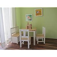 Preisvergleich für Best-of-JAM® Kindersitzgruppe 1x Kindertisch 2X Kinderstuhl 1x Kindersitzbank mit Deckelbremse Natur Weiß