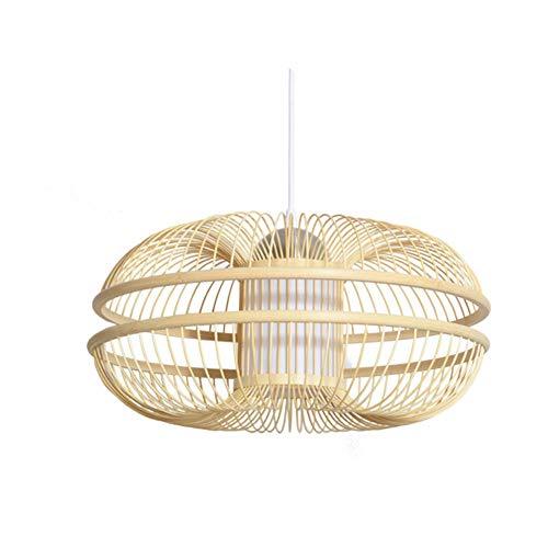 MAOMAO Handgemachte Rattan Hängeleuchte, Moderne Deckenleuchter, Naturholz- Bambuslampe, Tea Esszimmer Loft Hängelampe
