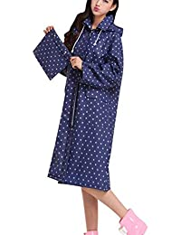 662ed26ea503ee Laisla fashion Damen Dicker Leichte Regenjacke Mit Kapuze Wasserdicht  Atmungsaktiv Regenmantel Mit Tunnelzug Classic Regenponcho Frauen