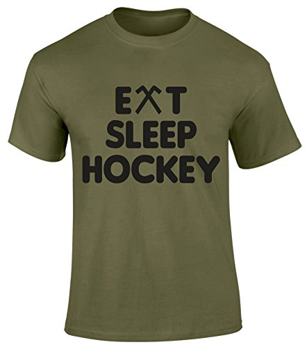 Eat Sleep Hockey Sports Play Game Hobby Funny Joke Gift T shirt -Military Green or Red Colour Men T shirt - Fathers Day Christmas Easter Birthday Gift