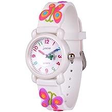 WOLFTEETH Starter Watch Niña reloj analógico para niñas reloj resistente al agua día escolar reloj deportivo al aire libre Butterfly Watchband blanco 308503