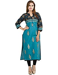 Zoeyams Women's Multicolor Cotton Block Prints Long Straight Kurti