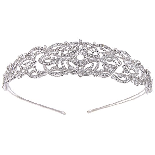 EVER FAITH Austrian Crystal Babylon Style Floral Headband Silver-Tone Clear A13691-1