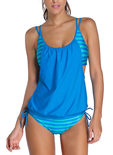 Azue Damen Zweiteilig Tankini Bauchweg Badeanzug Sportlich Beachwear mit Bikinislip Hellblau Streifen EU 42-44