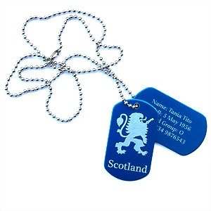 Engraved ID Dog Tags SCOTLAND Rampant LION Design Personalised FREE